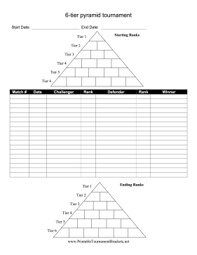 6-Tier Pyramid Tournament Bracket