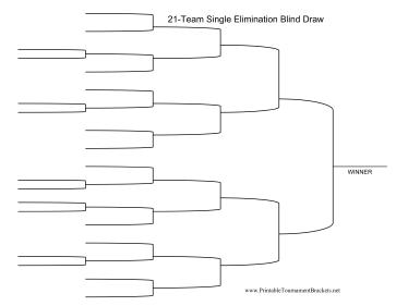 Blind Draw 21 Team Single Elimination Bracket