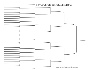 Blind Draw 30 Team Single Elimination Bracket