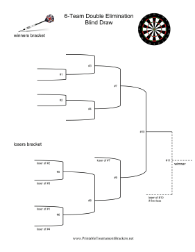 Blind Draw 6 Team Double Elimination Darts Tournament
