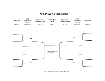 picture relating to Nfl Playoff Brackets Printable identified as Printable NFL Playoff Bracket Tremendous Bowl 2009