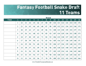 Snake Draft 11 Teams