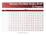 Snake Draft 12 Teams