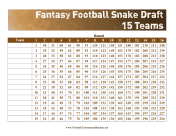 Snake Draft 15 Teams